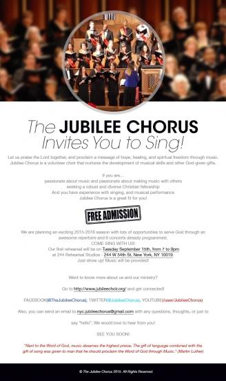 Jubilee Chorus 2015-16 Season